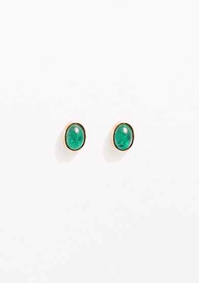 CREPUNDIA - Oval gold earrings with emerald
