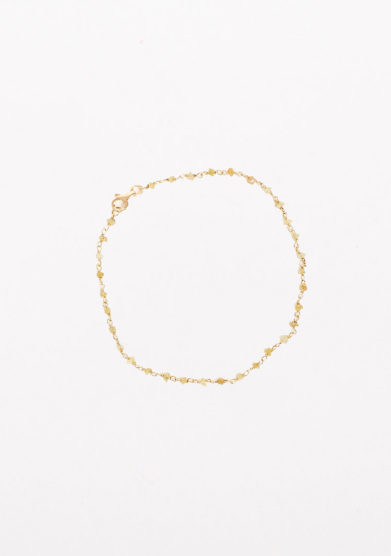 CREPUNDIA - Gold rosary bracelet with yellow rough diamond