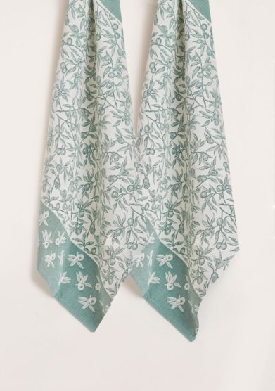 BUSATTI - Green forest wild olive kitchen towel (set of two)