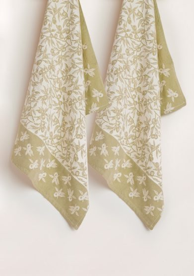 BUSATTI - Olive green wild olive kitchen towel (set of two)