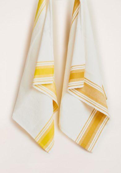 BUSATTI - Yellow and mustard Due Fragole tea towel set