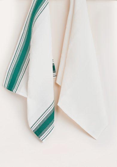 BUSATTI - Green and white Due Fragole kitchen towel set