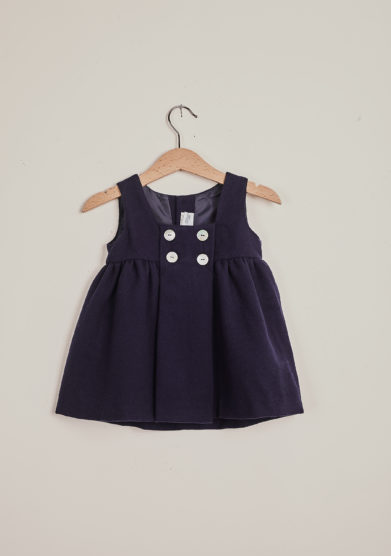 BARONI - Blue wool sleeveless dress