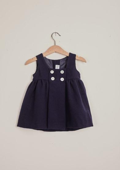 BARONI - Blue wool sleeveless dress