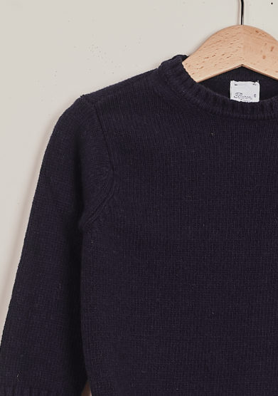 BARONI - Blue round neck kid's wool and cashmere sweater
