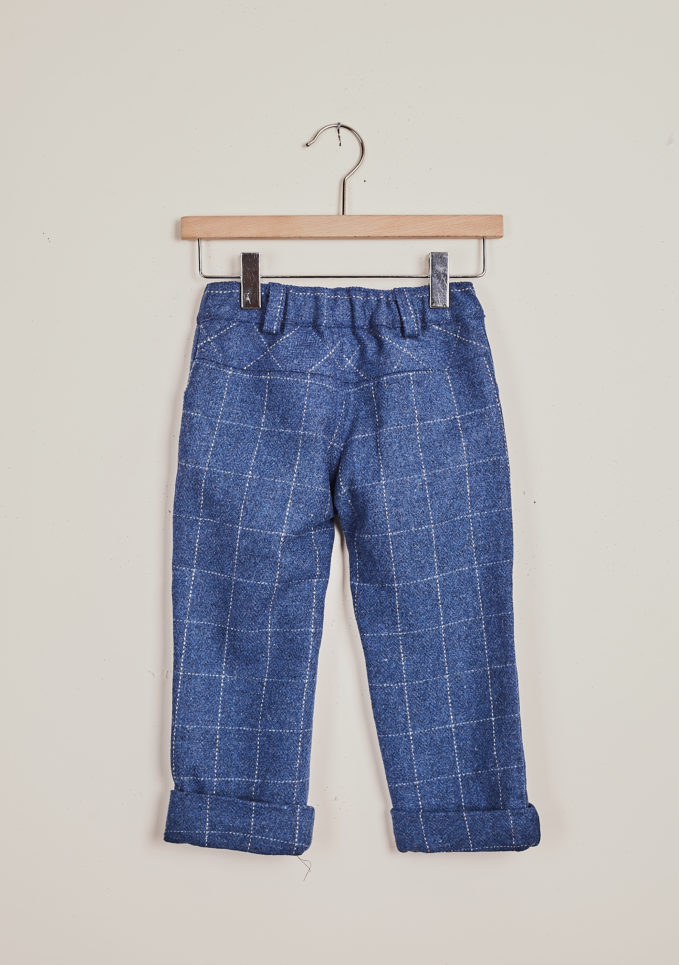 BARONI - Blue wool checked trousers