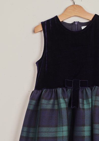 BARONI - Sleeveless blue tartan dress