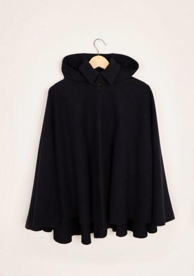 TABARRO SAN MARCO - Black wool Tabarro for children with hood