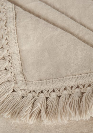ONCE MILANO - Cream linen tablecloth with fringe