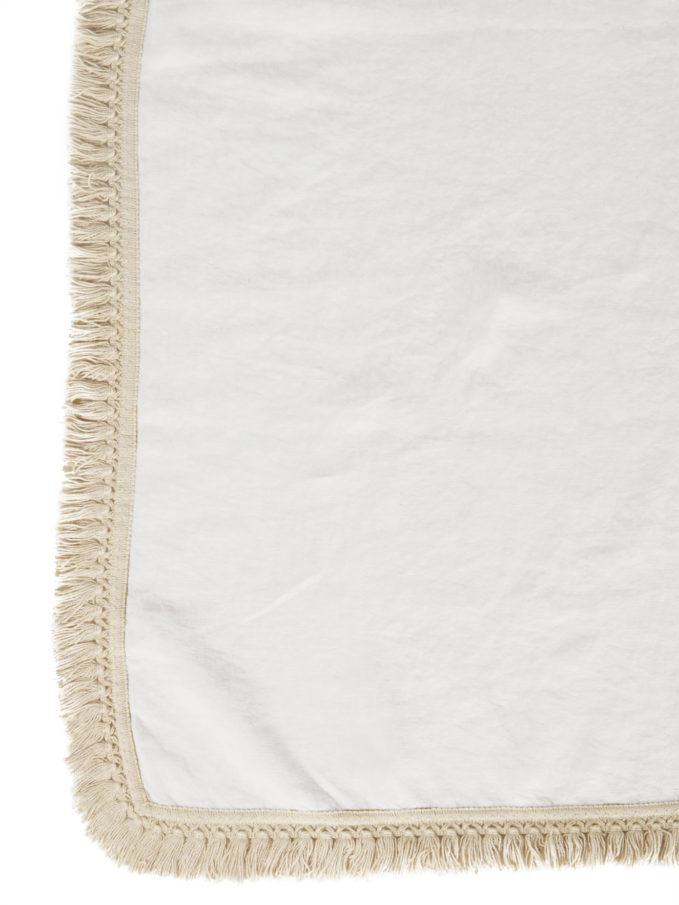 ONCE MILANO - White linen tablecloth with fringe
