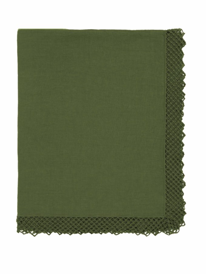 ONCE MILANO - Sequoia green linen tablecloth with macramè