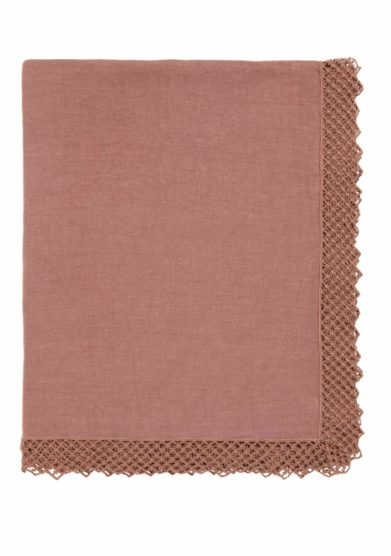 ONCE MILANO - Vintage pink linen tablecloth with macramè