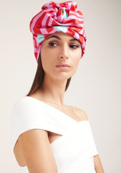 Turbante altalen in satin fantasia rosso e rosa