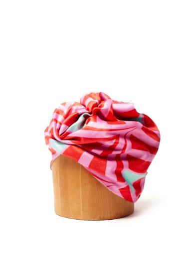 Turbante fantasia rosso e rosa raso altalen