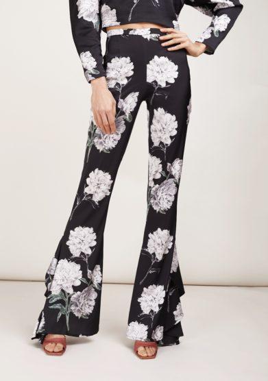 Pantalone a zampa amotea nero fantasia peonie