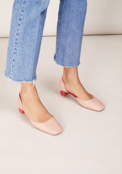 Scarpa d'orsay anna baiguera rosa punta quadrata