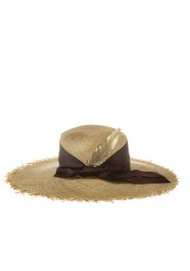 Cappello paglia piuma oro fiocco marrone ely b hats