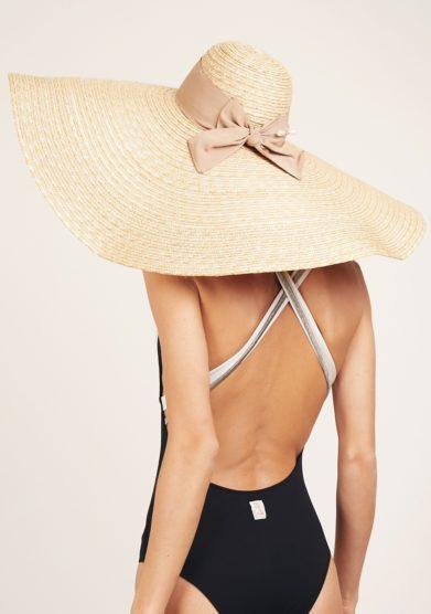 Ely b hats cappello maxi beige con fiocco