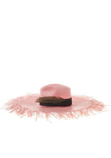 Ely b hats cappello in paglia rosa con piuma