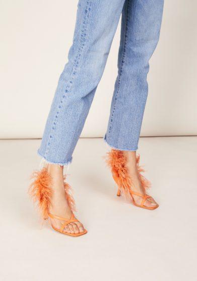 Sandalo con tacco gia couture arancio in pelle