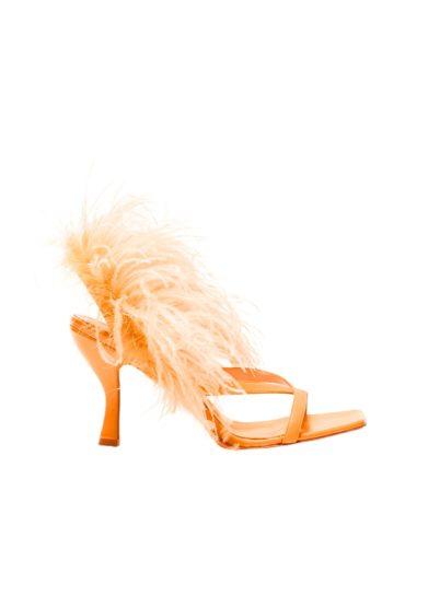 Gia couture sandalo pelle arancio con piume