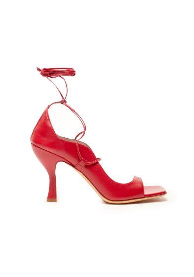 Sandalo pelle rosso con tacco gia couture