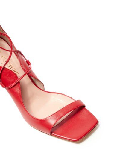 gia couture sandalo pelle rosso punta quadrata