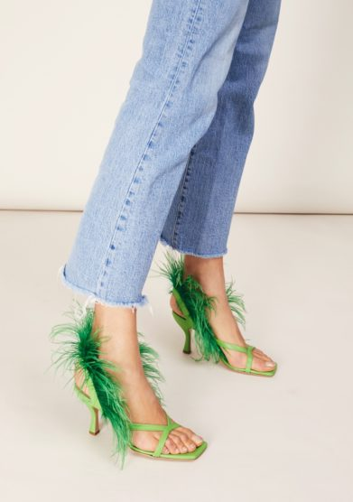 Sandali gia couture verdi con piume