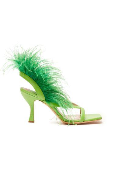 Gia couture sandalo con tacco in pelle verde e piume