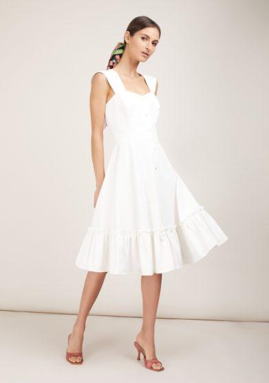 Gioia bini abito camilla bianco con balza