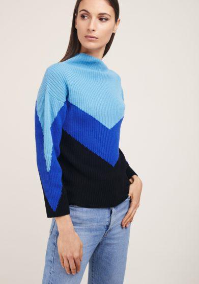 Maglia misto cashmere irreplaceable elisa giordano tricolor azzurra