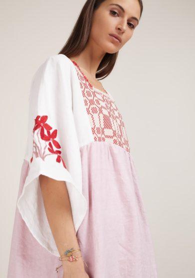 Nina leuca abito lino rosa manica ampia con ricami