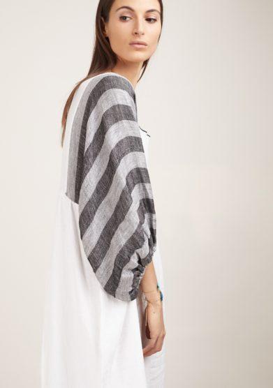 Nina leuca abito lino bianco manica palloncino rigata