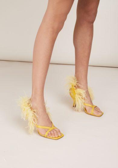 Sandali piume Gia Couture gialli