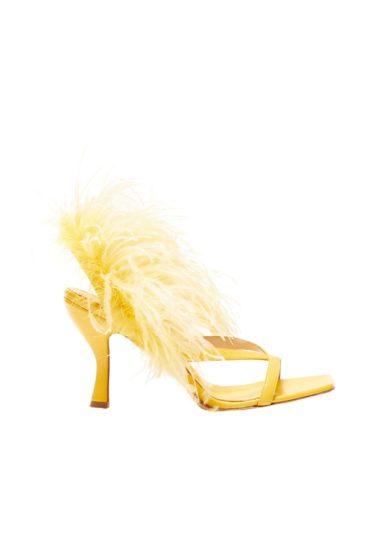 Sandali con tacco Gia Couture gialli pelle piume