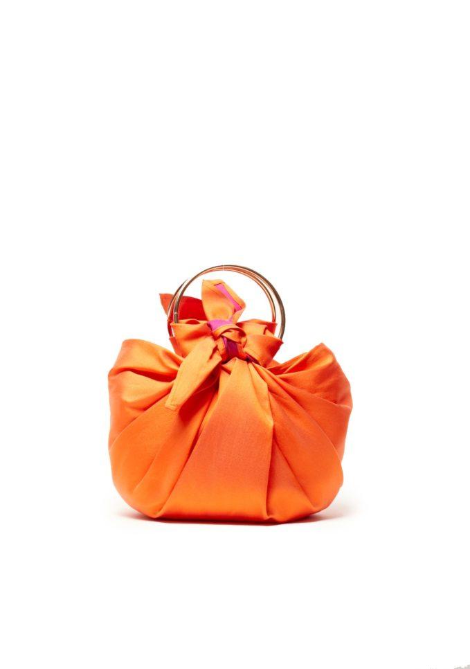 Virginia severini borsa a mano in seta arancione