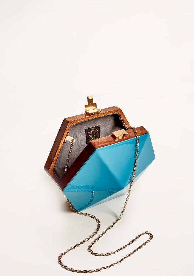Virginia severini clutch in legno turchese con tracolla