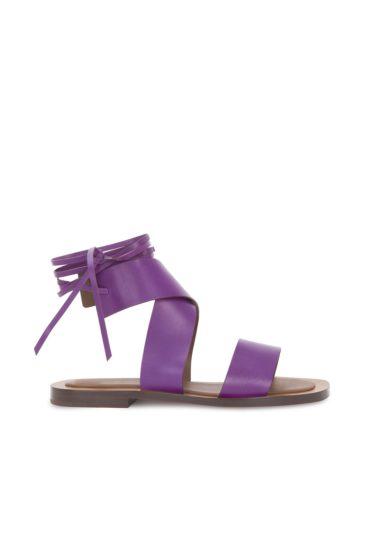 Sandali ambleme allacciati alla caviglia viola