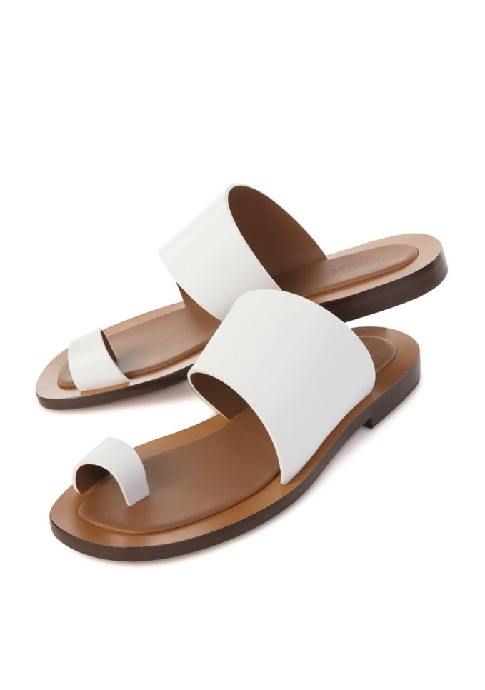 Sandalo doppia fascia pelle bianca ambleme