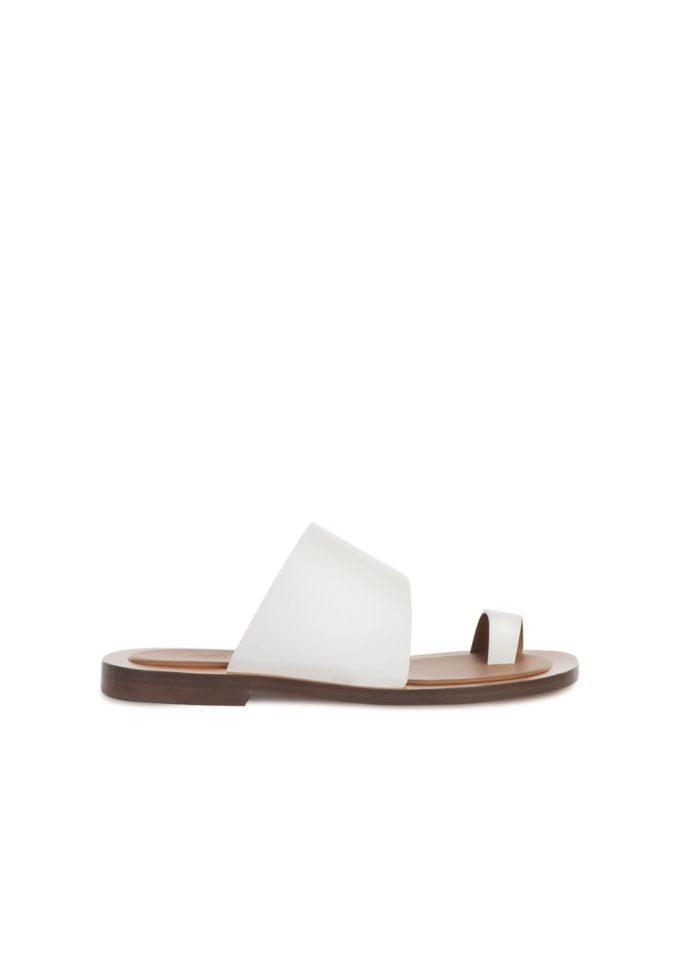 Sandali pelle bianchi infradito ambleme