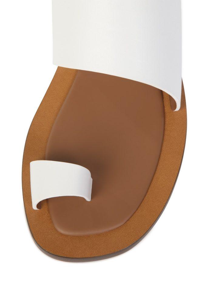 Sandali bianchi toe ring pelle ambleme