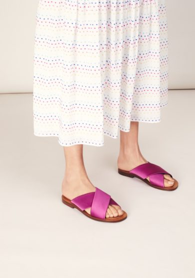 Amleme sandali bassi incrociati satin rosa ciclamino