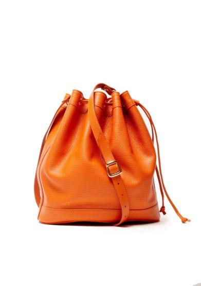 Secchiello grande pelle arancione amira bags