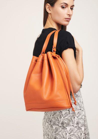 Borsa secchiello grande pelle arancione amira bags