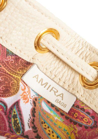 Amira Bags mini secchiello panna pelle martellata interno cotone floreale