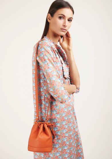 Amira bags secchiello pelle arancione piccolo