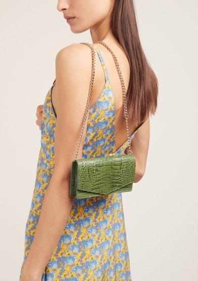 Amma borsa piccola pelle verde tracolla catena dorata