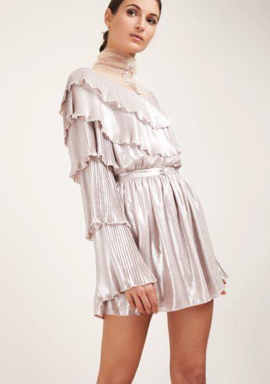 Amotea mini abito lamè platino con ballze