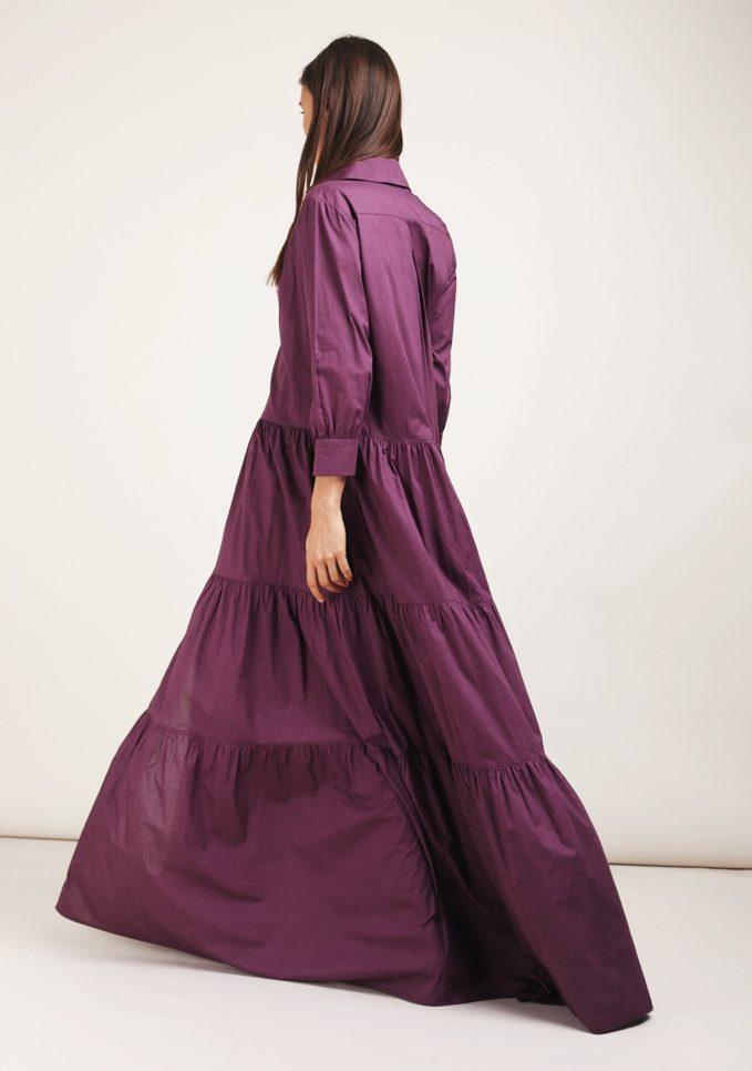 Caftanii firenze abito lungo alice a balze viola