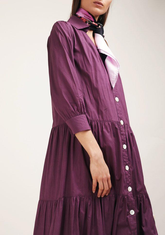 Caftanii firenze alice maxi dress viola con bottoni